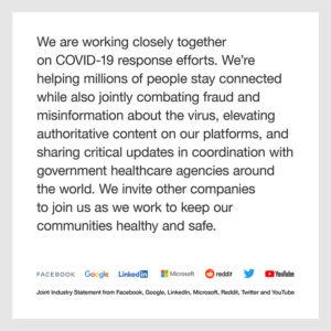 Statement von Digitalkonzernen bezüglich Covid-19